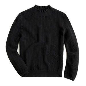 NWOT J.Crew black pointelle ruffle neck sweater, L